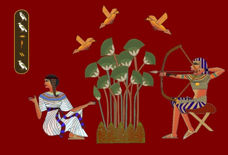 egyptian-hunting-amongst-lillies-red-background-and-birds