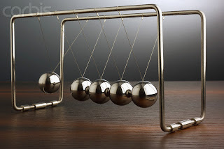 Newton's Cradle --- Image by © Volker Moehrke/Corbis